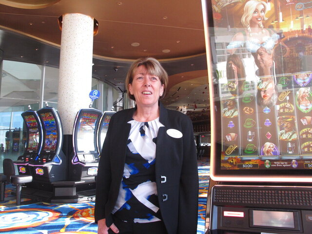 This Tuesday, Dec. 3, 2019 photo shows Terry Glebocki on the casino floor of the Ocean Casino Resort in Atlantic City N.J., shortly before she was announced as the casino's new CEO. Glebocki was named CEO after serving in the job in an interim capacity since August. (AP Photo/Wayne Parry)