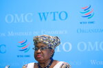 World Trade Organisation (WTO) Director-General Ngozi Okonjo-Iweala attends a joint news conference after her meeting with French Finance Minister Bruno Le Maire at WTO headquarters in Geneva, Switzerland, Thursday, April 1, 2021. (Denis Balibouse/Pool via AP)