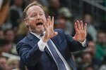 Milwaukee Bucks head coach Mike Budenholzer reacts during the first half of an NBA basketball game against the Boston Celtics Thursday, Jan. 16, 2020, in Milwaukee. (AP Photo/Morry Gash)