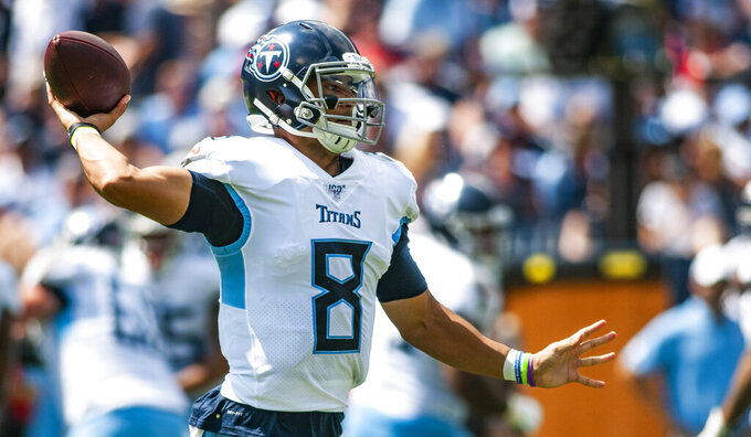 Tennessee Titans quarterback Marcus Mariota (8) throws a pass during Indianapolis' 19-17 win over the Titans on Sunday, September 15, 2019, at Nissan Stadium. (Austin Anthony/Daily News via AP)