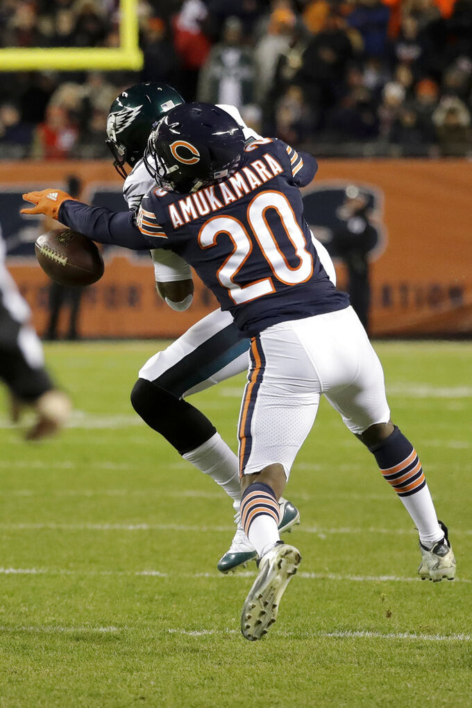 Chicago Bears cornerback Prince Amukamara (20) breaks up a pass intended for Philadelphia Eagles wide receiver Alshon Jeffery (17) during the second half of an NFL wild-card playoff football game Sunday, Jan. 6, 2019, in Chicago. (AP Photo/Nam Y. Huh)