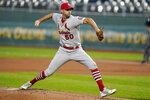 St. Louis Cardinals starting pitcher Adam Wainwright delivers to a Kansas City Royals batter during the first inning of a baseball game in Kansas City, Mo., Monday, Sept. 21, 2020. (AP Photo/Orlin Wagner)