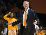 Tennessee Head Coach Rick Barnes gestures during an NCAA college basketball game against Arkansas, Tuesday, Feb. 11, 2020 in Knoxville, Tenn. (Brianna Paciorka/Knoxville News Sentinel via AP)