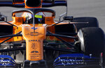 Mclaren driver Lando Norris of Britain steers his car during a Formula One pre-season testing session at the Barcelona Catalunya racetrack in Montmelo, outside Barcelona, Spain, Thursday, Feb.21, 2019. (AP Photo/Joan Monfort)