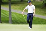 Justin Thomas reacts to his putt on the eighth hole during the third round of the Workday Charity Open golf tournament, Saturday, July 11, 2020, in Dublin, Ohio. (AP Photo/Darron Cummings)