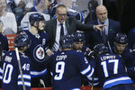 Winnipeg Jets coach Paul Maurice talks to his team during the third period of Game 1 of the NHL hockey playoffs Western Conference final against the Vegas Golden Knights, Saturday, May 12, 2108, in Winnipeg, Manitoba. (John Woods/The Canadian Press via AP)
