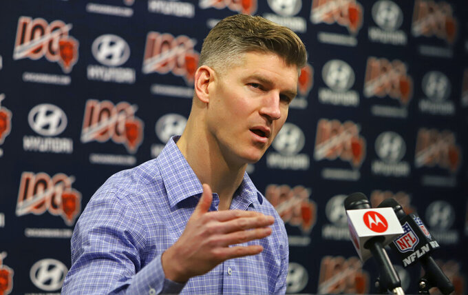 FILE - In this April 23, 2019, file photo, Chicago Bears general manager Ryan Pace speaks with the media during a press conference in Lake Forest, Ill. The 2020 NFL Draft is April 23-25, 2020. (Tim Boyle/Chicago Sun-Times via AP, File)/Chicago Sun-Times via AP)