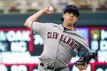 Cleveland Indians pitcher Cal Quantrill throws to a Minnesota Twins batter during the first inning of a baseball game Wednesday, Sept. 15, 2021, in Minneapolis. (AP Photo/Jim Mone)