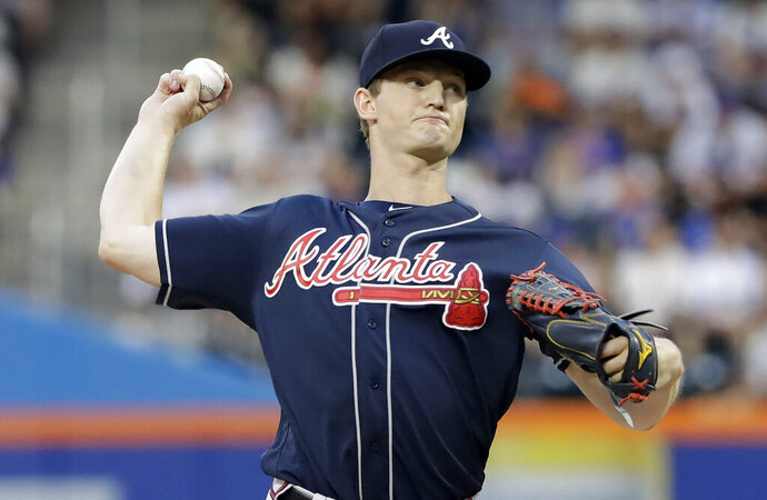 Atlanta Braves' Mike Soroka delivers a pitch during the first inning of a baseball game against the New York Mets, Friday, June 28, 2019, in New York. (AP Photo/Frank Franklin II)