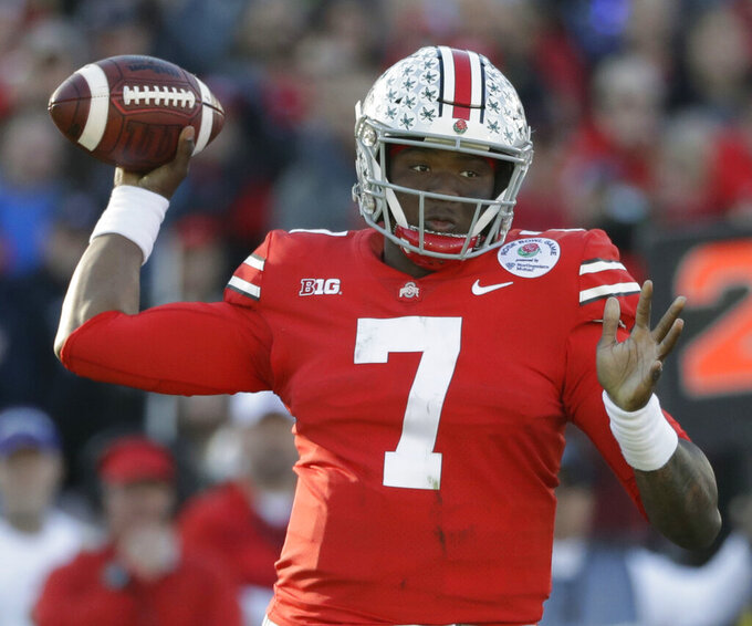 FILE - In this Jan. 1, 2019, file photo, Ohio State quarterback Dwayne Haskins passes during the first half of the Rose Bowl NCAA college football game against Washington, in Pasadena, Calif.The Washington Redskins had their sights set on Dwayne Haskins and didn't even have to trade up to get their quarterback of the future. Washington selected the Ohio State standout with the 15th pick in the NFL draft, Thursday, April 25, 2019. (AP Photo/Jae C. Hong, File)
