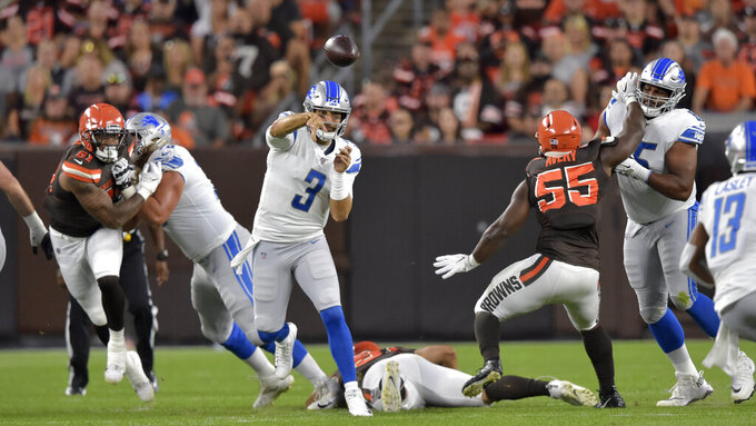 Detroit Lions quarterback Tom Savage (3) throws during the first half of the team's NFL preseason football game against the Cleveland Browns, Thursday, Aug. 29, 2019, in Cleveland. (AP Photo/David Richard)