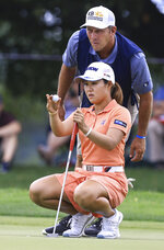 Nasa Hataoka lines up her shot on the ninth hole during the first round of the LPGA Marathon Classic golf tournament, Thursday, July 8 2021, at Highland Meadows in Sylvania, Ohio. (Jeremy Wadsworth/The Blade via AP)