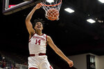 Stanford forward Spencer Jones (14) dunks against Washington State during the first half of an NCAA college basketball game Saturday, Jan.11, 2020, in Stanford, Calif. (AP Photo/John Hefti)