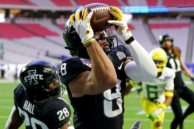 Iowa State wide receiver Xavier Hutchinson (8) can't hold onto the ball in the end zone during the first half of the Fiesta Bowl NCAA college football game against Oregon, Saturday, Jan. 2, 2021, in Glendale, Ariz. (AP Photo/Rick Scuteri)