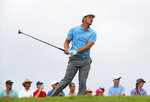 Bryson Dechambeau watches his shot from the 14th tee during the second round of the Tournament of Champions golf event Friday, Jan. 4, 2019, at Kapalua Plantation Course in Kapalua, Hawaii. (AP Photo/Matt York)