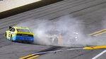 Drivers Ryan Blaney (12) and Chase Elliott (9) crash during the final lap of the NASCAR Daytona Clash auto race Tuesday, Feb. 9, 2021, at Daytona International Speedway in Daytona Beach, Fla. (AP Photo/Chris O'Meara)