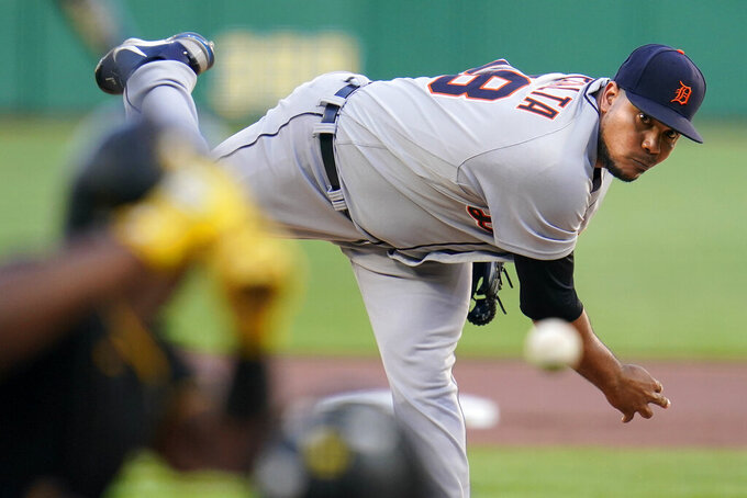Detroit Tigers starting pitcher Wily Peralta delivers during the first inning of the team's baseball game against the Pittsburgh Pirates in Pittsburgh, Tuesday, Sept. 7, 2021. (AP Photo/Gene J. Puskar)