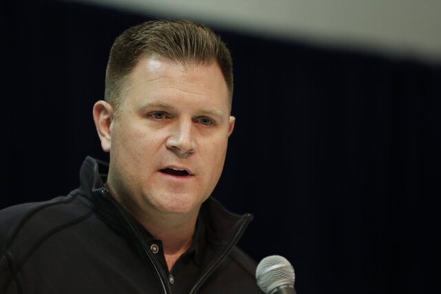 FILE - Green Bay Packers general manager Brian Gutekunst speaks during a press conference at the NFL football scouting combine in Indianapolis, in a Wednesday, Feb. 27, 201 file photo. Green Bay general manager Brian Gutekunst says Devin Funchess' decision to opt out for this season due to COVID-19 concerns isn't necessarily causing the Packers to get more aggressive in seeking help at the wide receiver position.  (AP Photo/Michael Conroy, File)