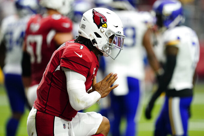 Arizona Cardinals quarterback Kyler Murray (1) celebrates his touchdown against the Minnesota Vikings during the first half of an NFL football game, Sunday, Sept. 19, 2021, in Glendale, Ariz. (AP Photo/Ross D. Franklin)
