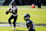 Baltimore Ravens' Lamar Jackson plays during the first half of an NFL football game against the Philadelphia Eagles, Sunday, Oct. 18, 2020, in Philadelphia. (AP Photo/Chris Szagola)