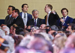 National security adviser John Bolton, center, looks across the audience as President Donald Trump speaks at an event to promote his tax cut package at Bucky Dent Park in Hialeah, Fla., Monday, April 16, 2018. (AP Photo/Pablo Martinez Monsivais)