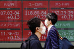 Men wearing masks walk past an electronic stock board showing foreign currency exchange rates at a securities firm in Tokyo Thursday, May 28, 2020. Asian stocks are mixed after an upbeat open, as hopes for an economic rebound from the coronavirus crisis were dimmed by tensions between the U.S. and China over Hong Kong and other issues. (AP Photo/Eugene Hoshiko)