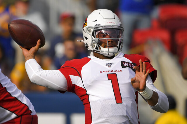 Arizona Cardinals quarterback Kyler Murray passes against the Los Angeles Rams during first half of an NFL football game Sunday, Dec. 29, 2019, in Los Angeles. (AP Photo/Mark J. Terrill)