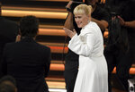 Patricia Arquette is seen in the audience before accepting the award for outstanding supporting actress in a limited series or movie for