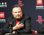 FILE - This is a July 26, 2019, file photo showing Houston Rockets General Manager Daryl Morey during an NBA basketball news conference in Houston. Rockets general manager Daryl Morey is stepping down on his own accord, a person familiar with the decision told The Associated Press. The person spoke on condition of anonymity Thursday, Oct. 15, 2020, because the move hasn't been announced. (AP Photo/David J. Phillip, File)
