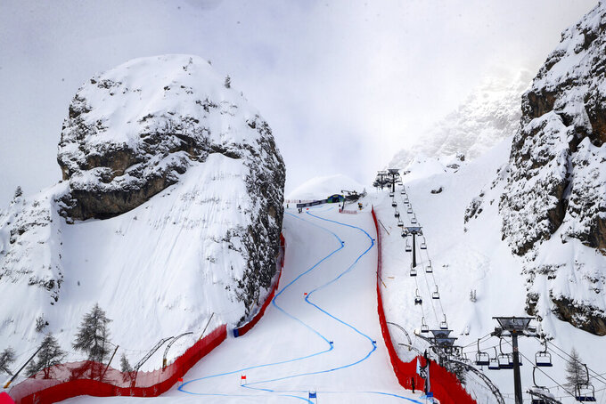 In this photo taken on Feb. 9, 2021, a view of the Tofana Schuss, in Cortina d' Ampezzo, Italy. The Tofana schuss, a chute between two huge cliffs of sheer rock, is the signature section of the women's downhill at the Alpine skiing world championships. (AP Photo/Alessandro Trovati)