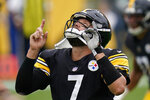 Pittsburgh Steelers quarterback Ben Roethlisberger (7) celebrates a touchdown during the first half of an NFL football game against the Philadelphia Eagles, Sunday, Oct. 11, 2020, in Pittsburgh. (AP Photo/Keith Srakocic)