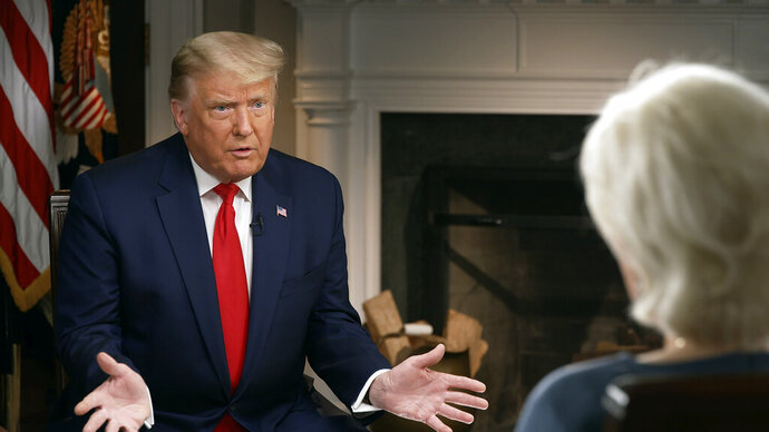 In this image provided by CBSNews/60 MINUTES, President Donald Trump speaks during an interview conducted by Lesley Stahl in the White House, Tuesday, Oct. 20, 2020. (CBSNews/60 MINUTES via AP)