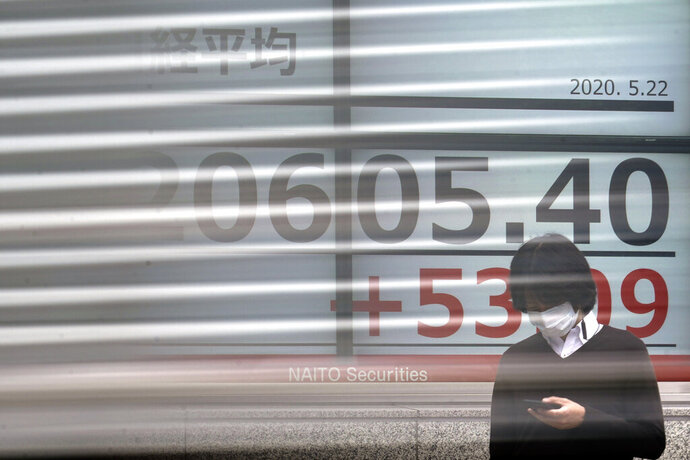 A man stands in front of an electronic stock board showing Japan's Nikkei 225 index as a track goes by at a securities firm in Tokyo Friday, May 22, 2020. Shares are slipping in Asia as tensions flare between the U.S. and China and as more job losses add to the economic fallout from the coronavirus pandemic. (AP Photo/Eugene Hoshiko)