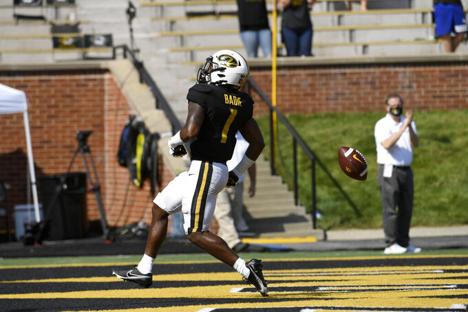 Missouri running back Tyler Badie celebrates a touchdown during the first half of an NCAA college football game against LSU Saturday, Oct. 10, 2020, in Columbia, Mo. (AP Photo/L.G. Patterson)