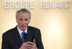 FILE - This Jan.24, 2019 file photo shows Jean-Dominique Senard after being appointed Renault chairman following a meeting of the board held at Renault headquarters in Boulogne-Billancourt, outside Paris. Fiat Chrysler on Monday May 27, 2019 proposed a merger with French carmaker Renault aimed at saving billions of dollars for both companies as the industry pivots to electric and autonomous vehicles. (AP Photo/Christophe Ena, File)