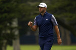 Dustin Johnson celebrates on the second hole during the final round of the PGA Championship golf tournament at TPC Harding Park Sunday, Aug. 9, 2020, in San Francisco. (AP Photo/Jeff Chiu)