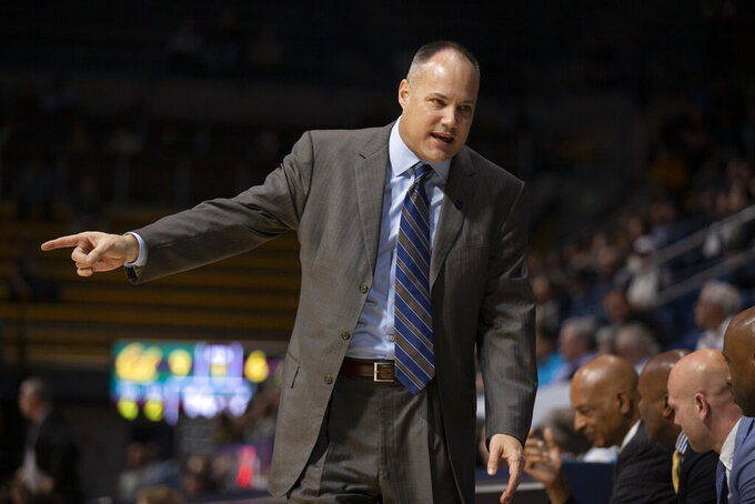 California coach Mark Fox talks to his bench during the first half of an NCAA college basketball game against Colorado, Thursday, Feb. 27, 2020, in Berkeley, Calif. (AP Photo/D. Ross Cameron)