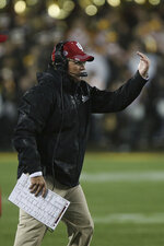 Indiana head coach Tom Allen gestures during an NCAA college football game against Minnesota, Friday, Oct. 26, 2018, in Minneapolis. Minnesota won 38-31. (AP Photo/Stacy Bengs)