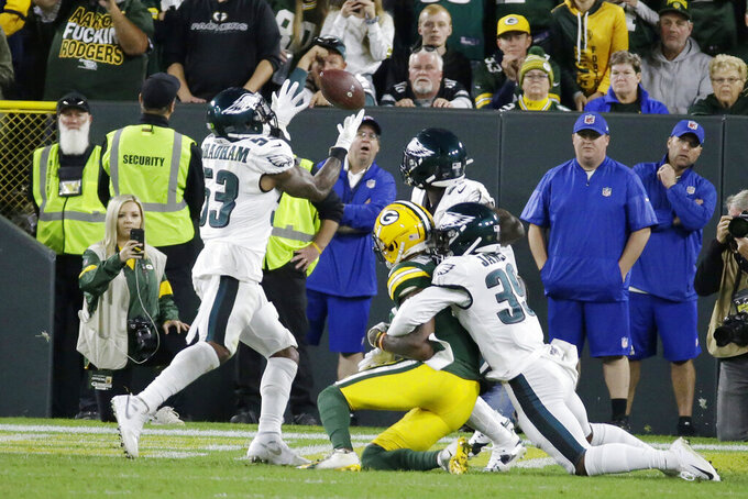 Philadelphia Eagles outside linebacker Nigel Bradham (53) intercepts a last minute pass to secure the victory against Green Bay Packers during an NFL football game Thursday, Sept. 26, 2019, in Green Bay, Wis. Philadelphia won 34-27. (AP Photo/Mike Roemer)