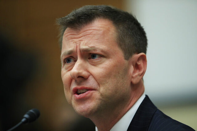 FILE - In this July 12, 2018, file photo, then-FBI Deputy Assistant Director Peter Strzok, testifies on Capitol Hill in Washington. Strzok, a former FBI agent who was fired because of derogatory text messages about Donald Trump, writes in a new book that he believes the president has been compromised by Russia. (AP Photo/Manuel Balce Ceneta, File)