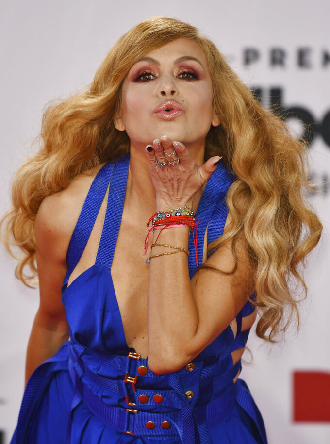 Paulina Rubio arrives at the Billboard Latin Music Awards on Wednesday, Oct. 21, 2020, at the BB&T Center in Sunrise, Fla. (Jim Rassol/Invision/AP)