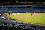 Washington Nationals hold their first training camp work out at Nationals Stadium, Friday, July 3, 2020, in Washington. (AP Photo/Andrew Harnik)