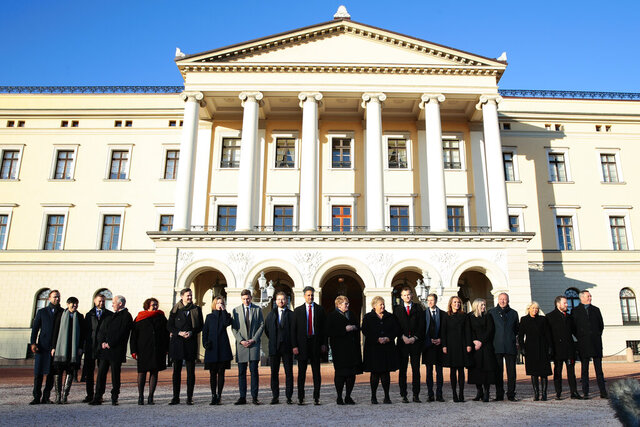 Norway's Prime Minister Erna Solberg presents her new government in front of the Royal Palace in Oslo, Friday Jan. 24, 2020. (Hakon Mosvold Larsen, NTB scanpix via AP)