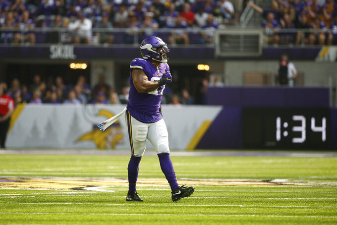 Minnesota Vikings defensive end Everson Griffen (97) celebrates after a sack during the first half of an NFL football game against the Detroit Lions, Sunday, Oct. 10, 2021, in Minneapolis. (AP Photo/Bruce Kluckhohn)