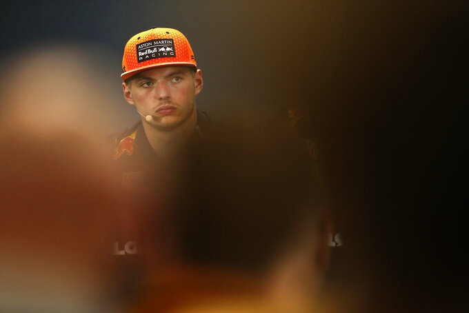 Red Bull driver Max Verstappen of the Netherlands listens to a question during a press conference ahead of the Belgian Formula One Grand Prix in Spa-Francorchamps, Belgium, Thursday, Aug. 29, 2019. The Belgian Formula One Grand Prix will take place on Sunday, Sept. 1, 2019. (AP Photo/Francisco Seco)