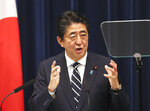 Japanese Prime Minister Shinzo Abe speaks during a press conference at Abe's official residence in Tokyo, Wednesday, June 26, 2019. Abe has pledged to seek a consensus on free trade and other contentious issues at this week's summit of the Group of 20 countries in Osaka.  (AP Photo/Koji Sasahara)