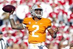 Tennessee quarterback Jarrett Guarantano (2) throws to a receiver in the first half of an NCAA college football game against Alabama Saturday, Oct. 20, 2018, in Knoxville, Tenn. (AP Photo/Wade Payne)