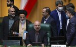 FILE - In this May 28, 2020 file photo, Mohammad Bagher Qalibaf speaks after being elected as speaker of the parliament, in Tehran, Iran. Qalibaf said Wednesday, Oct. 28, 2020, that he has tested positive for the coronavirus, joining a growing list of top Iranian officials infected in the Middle East's worst outbreak. (AP Photo/Vahid Salemi, File)