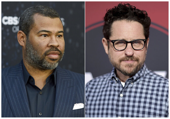 This combination of photos shows  Jordan Peele at the Los Angeles premiere of