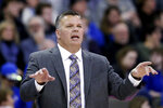 Creighton coach Greg McDermott calls a play during the first half of the team's NCAA college basketball game against Marquette in Omaha, Neb., Wednesday, Jan. 9, 2019. (AP Photo/Nati Harnik)